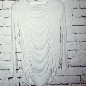 Tart Yoga Tee Long Sleeve White Ruched Small